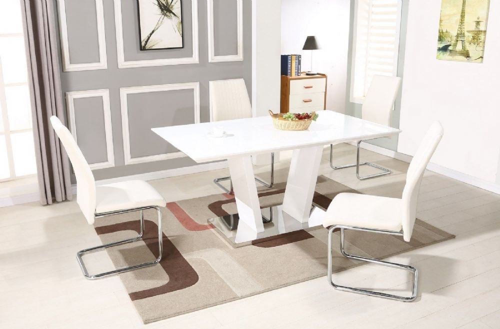 GA VIENNA Gloss 160 cm White Dining Table & Grey / Black / White 4 6 8 Chairs